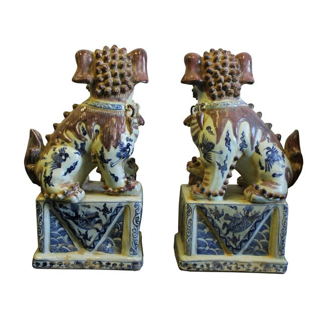 Ceramic Chinese Red White Blue Porcelain Foo Dogs - A Pair For Sale - Image 7 of 8