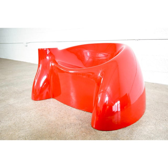 Mid Century Wendell Castle Red Fiberglass Lounge Chair For Sale In Detroit - Image 6 of 11