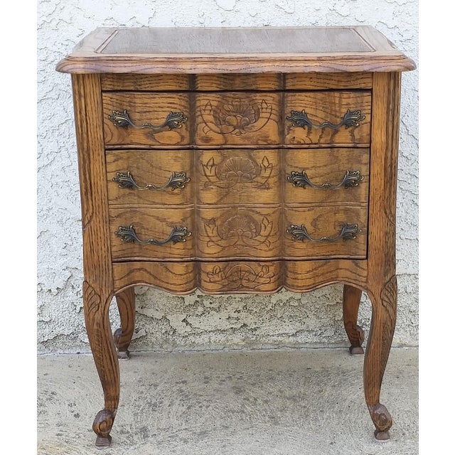 20th Century French Provincial Oak Nightstand For Sale - Image 11 of 11