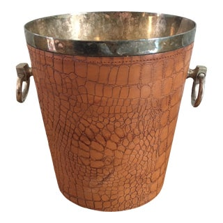 Vintage Leather Wrapped Ice Bucket For Sale