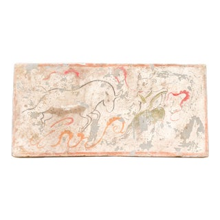 Striking Hand Painted Liao Dynasty Style Mural Tile For Sale