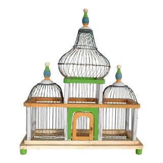 Antique Victorian Decorative Wood Bird Cage Painted Green Orange and Blue