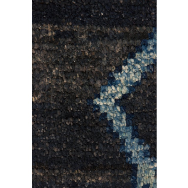 """Contemporary Moroccan Navy Hand-Knotted Rug - 5'10"""" x 8'10"""" For Sale - Image 3 of 3"""