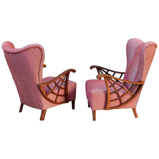 Pair of highly unusual Swedish winged back upholstered armchairs. Covered in burgundy and silver cotton/chenille. With...