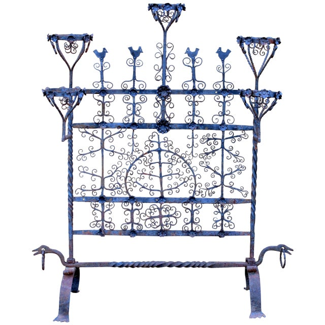 Antique Spanish Colonial Mexican Wrought Iron Yellin Fire Screen Plant Stand For Sale