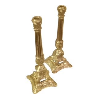 Vintage Brass Candlestick Holders - A Pair