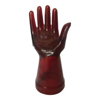 Vintage Red Glass Hand For Sale