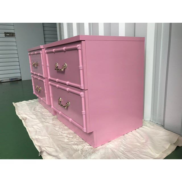 Pink Lacquered Faux-Bamboo Nightstands - A Pair - Image 6 of 8