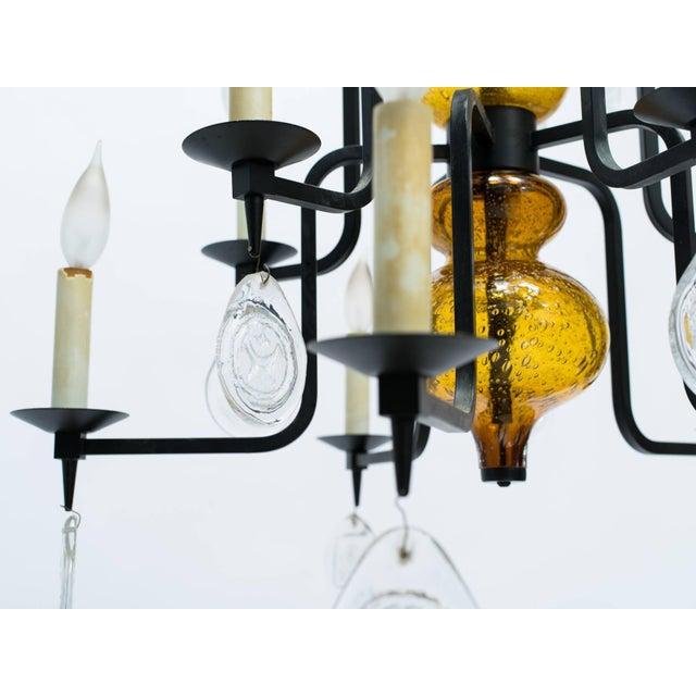 Boda Nova Glassworks Erik Hoglund Art Glass Chandelier For Sale - Image 4 of 11