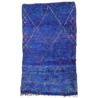 Vintage Mid-Century Moroccan Blue Indigo Beni Ourain Rug - 6′3″ × 10′5″ For Sale