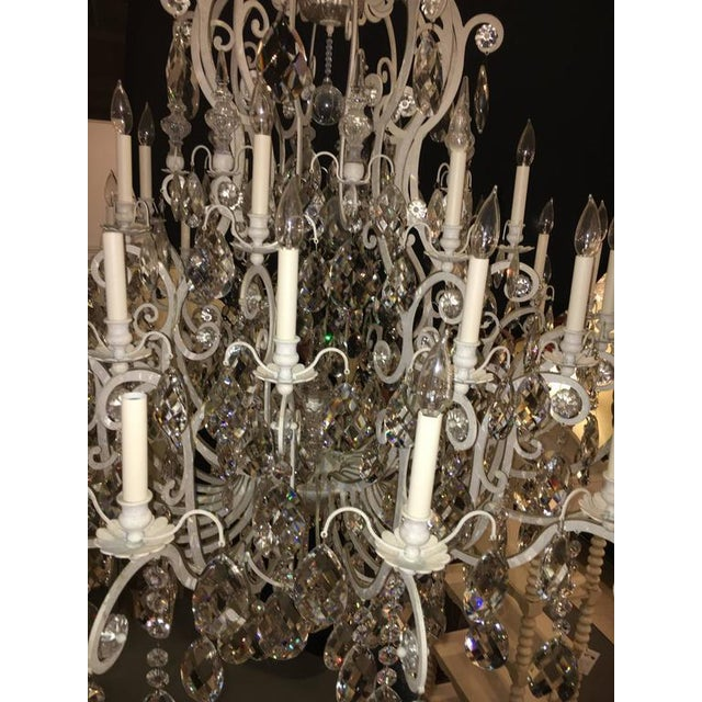 Monumental German Schonbek Painted Brass and Crystal Chandelier For Sale - Image 4 of 11