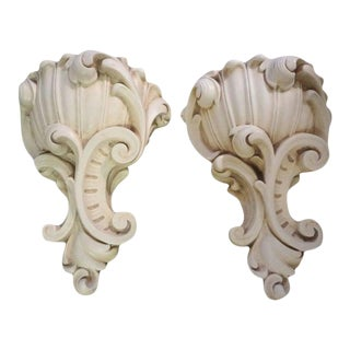 Large French 1940's Serge Roche Inspired Plaster Sconces-Pair For Sale