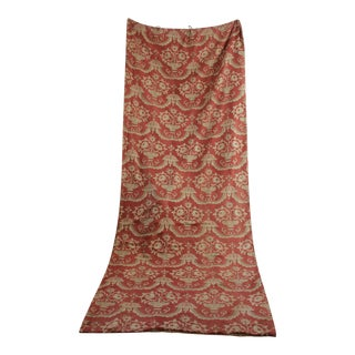 Antique French 18th Century Design Block Printed Linen Drape Curtain For Sale