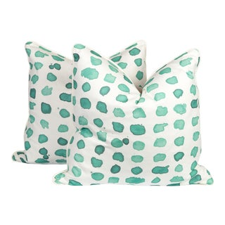 Mint Linen Guinea Pillows, a Pair For Sale