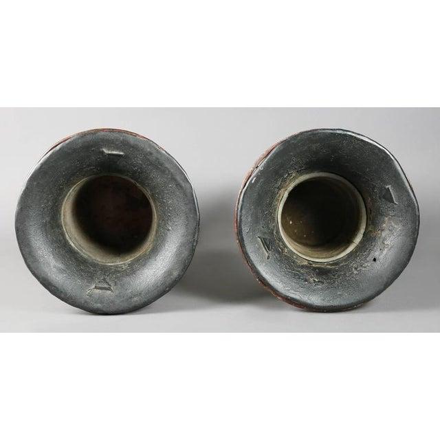 Black Pair of Regency Tole Urns For Sale - Image 8 of 11