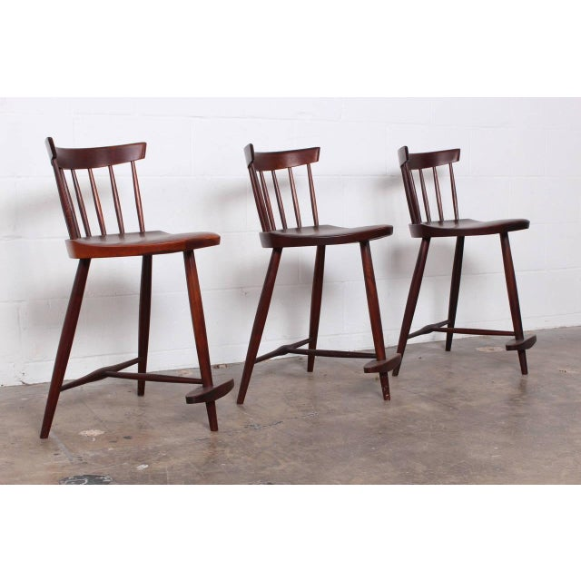 1950s Set of Three Mira Barstools by George Nakashima For Sale - Image 5 of 10