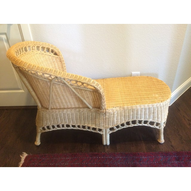Tan Vintage Wicker Chaise Lounge For Sale - Image 8 of 9