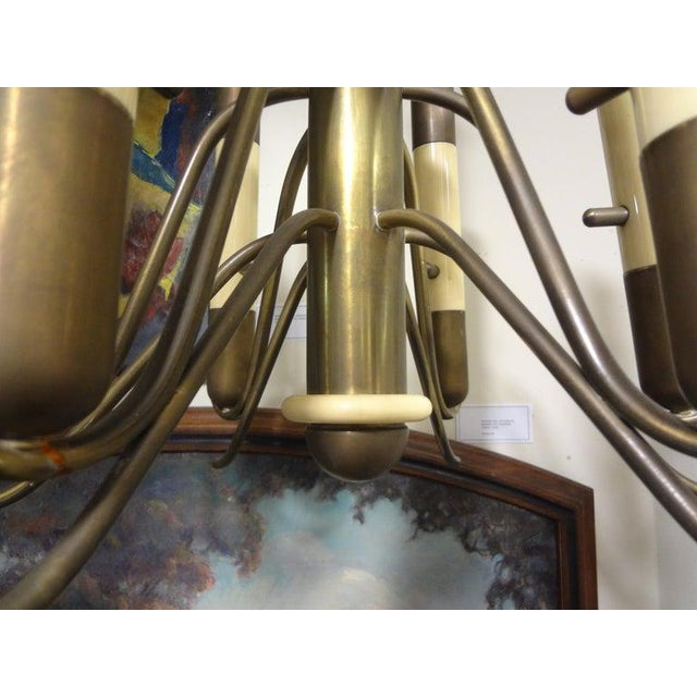 Arteluce Italian Brutalist Brass and Bakelite Chandelier by Nucleo Forme For Sale - Image 4 of 13