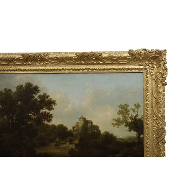 """Realism """"Landscape W/ Castle Ruins"""" Antique English Painting by George Smith of Chichester For Sale - Image 3 of 13"""