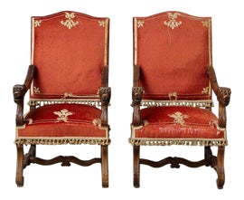 Image of Red Bergere Chairs