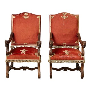 Pair of French Louis XIII Os De Mouton Throne Armchairs With Lion's Heads For Sale