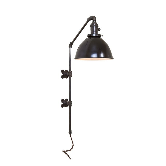 Brass Plumbing Pipe Sconce - Black Dome - Image 1 of 3
