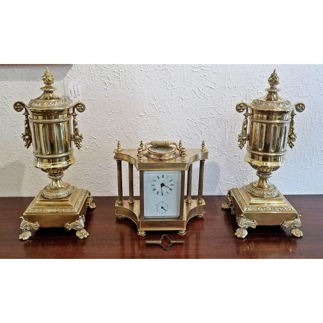 Pair of 19c French Neoclassical Style Brass Garnitures For Sale In Dallas - Image 6 of 13