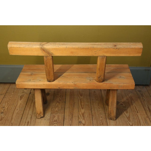 Brown Chunky Oak Rustic Bench For Sale - Image 8 of 10