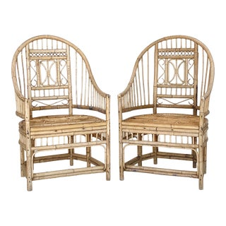 Vintage Bamboo Rattan Wicker Patio Outdoor Chairs - a Pair For Sale