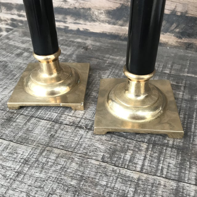 Hollywood Regency Vintage Brass and Black Candlesticks - a Pair For Sale - Image 3 of 9