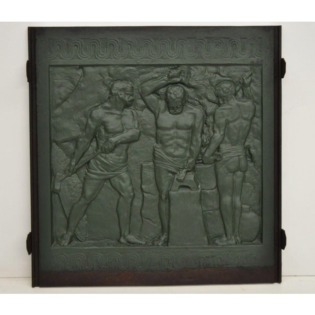 19th Century Art Deco Cast Iron Fireback Figural Foundry Worker Depiction For Sale - Image 13 of 13