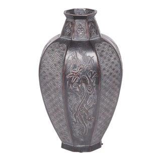 Japanese Octagonal Dragon Zinc Vase For Sale