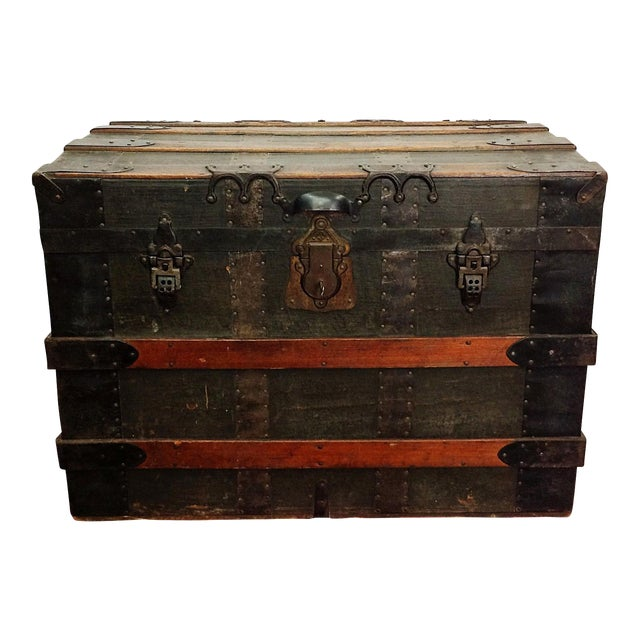 Antique Wood Steamer Trunk with Key - Image 1 of 10