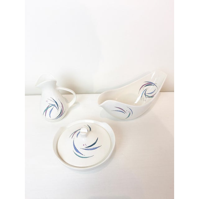 Mid-Century Modern Vintage 1950s Ben Seibel Sans Souci Pattern Raymor Universal Cream & Sugar, Gravy Boat Set - 3 Pieces For Sale - Image 3 of 6