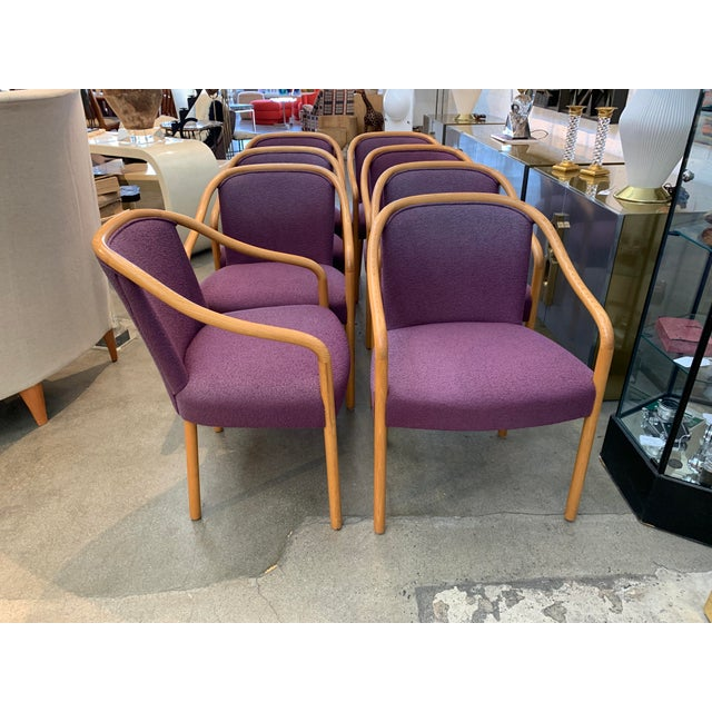 Brickel Associates for Arthur Elrod Dining Chairs in Plum - Set of 8 For Sale - Image 12 of 12