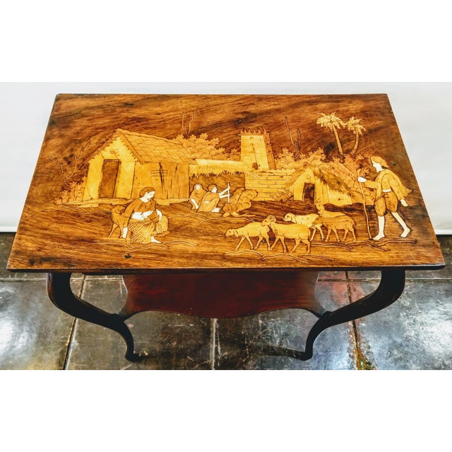 Wood 1900s Anglo-Indian Raj Rosewood Marquetry Parlor Table For Sale - Image 7 of 7