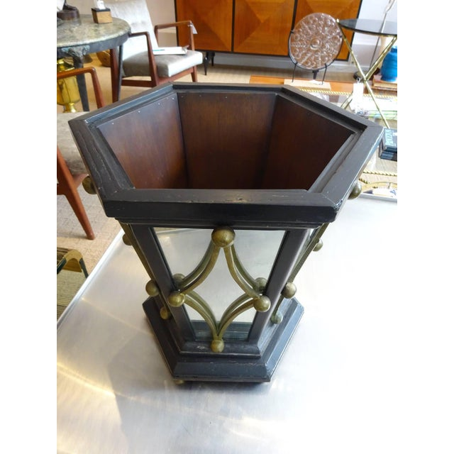Hollywood Regency Wastepaper Basket, Hexagonal in form with ebonized wood and brass mounted mirror , very heavy soild...