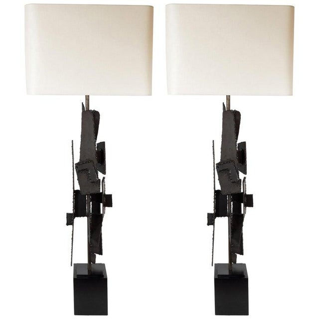 Mid-Century Brutalist Iron Mosaic Table Lamps by Harry Balmer for Laurel Company - a Pair For Sale - Image 9 of 9