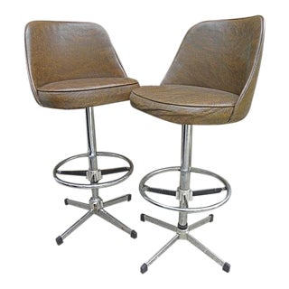 Vintage Mid-Century Bar Stools - A Pair For Sale