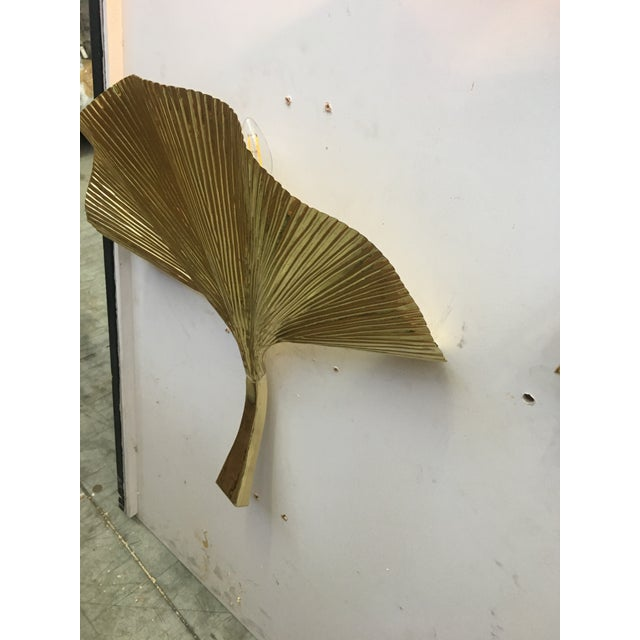 Gold Fan Leaf Motif Gold Metal Wall Sconces - a Pair For Sale - Image 8 of 12