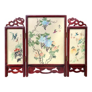 Early 20th Century Vintage Chinese Double-Sided Tabletop Screen For Sale
