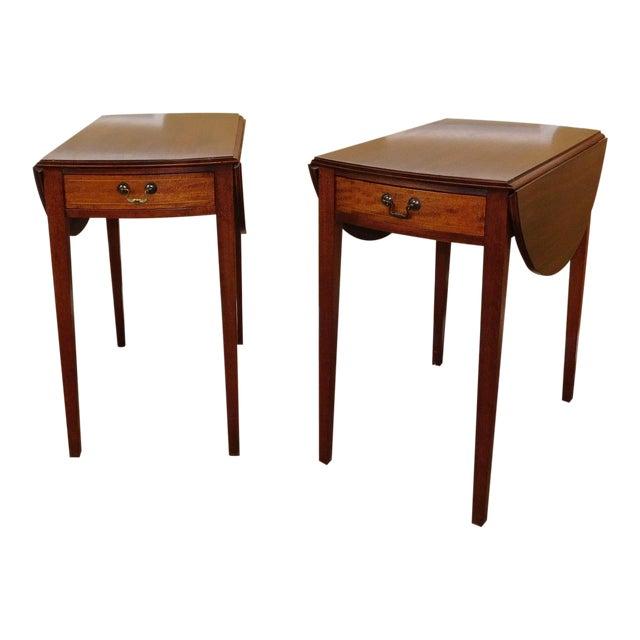 Vintage Federal Style Pembroke Drop Leaf End Tables - Pair For Sale