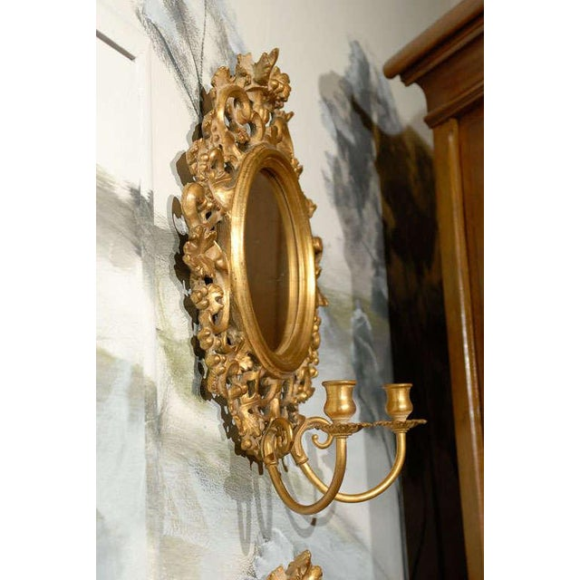Vintage Italian Mirrored Candle Sconces - a Pair For Sale In Atlanta - Image 6 of 8