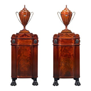 Pair of George Smith Style Dining Pedestals with Cutlery Urns For Sale