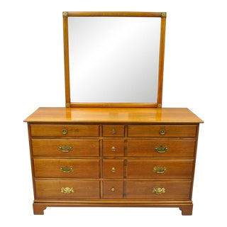 Kent Coffey Duxbury Hall Cherry Wood Double Dresser & Mirror