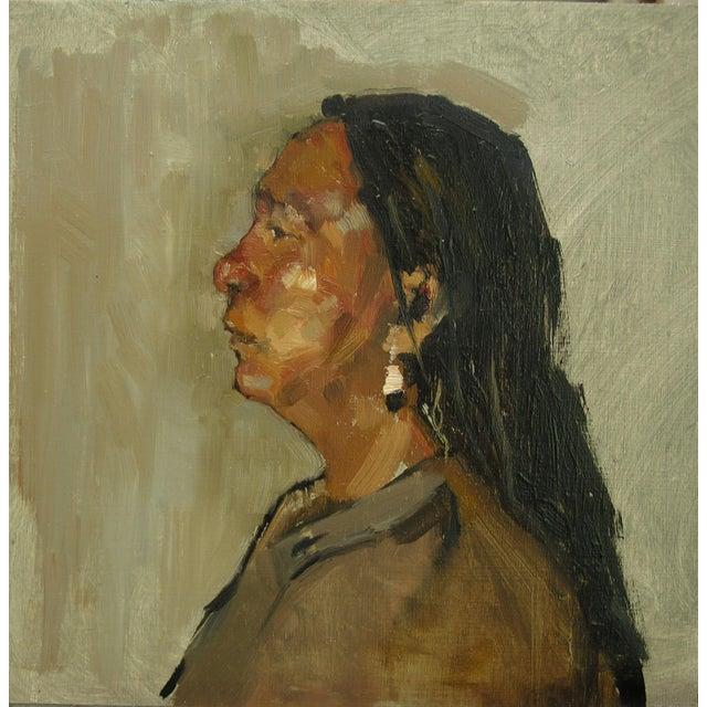 "Linen Rubino Framed Oil Painting ""He Ska"", Contemporary Portrait For Sale - Image 7 of 7"