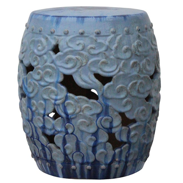 Ceramic Ceramic Clay Light Blue Glaze Round Scroll Pattern Garden Stool For Sale - Image 7 of 8