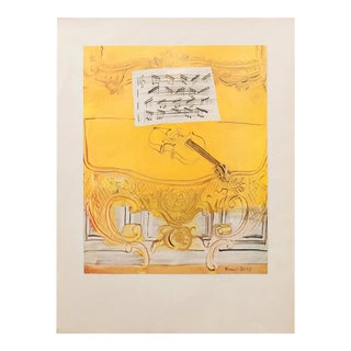 """1954 Raoul Dufy """"Yellow Console With a Violin"""" First Edition Lithograph For Sale"""