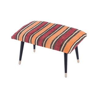 Pasargad Home Bosphorus Collection Orange Stripe Kilim Cover Ottoman For Sale
