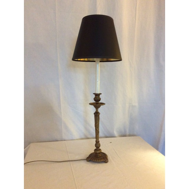 Brass Classical Brass Candlestick Lamp For Sale - Image 8 of 8